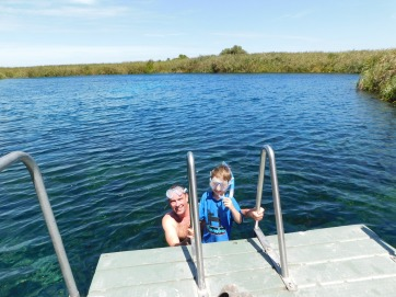 Cam and Josh snorkelling Ewans Pond