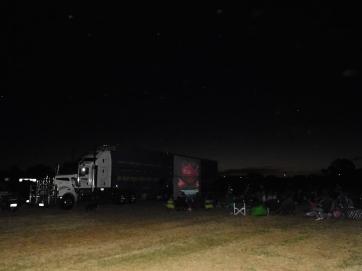 Finally dark and the outdoor cinema begins narracoorte
