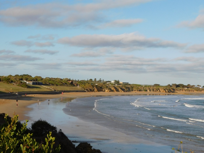 The beach at Torquay caravan park