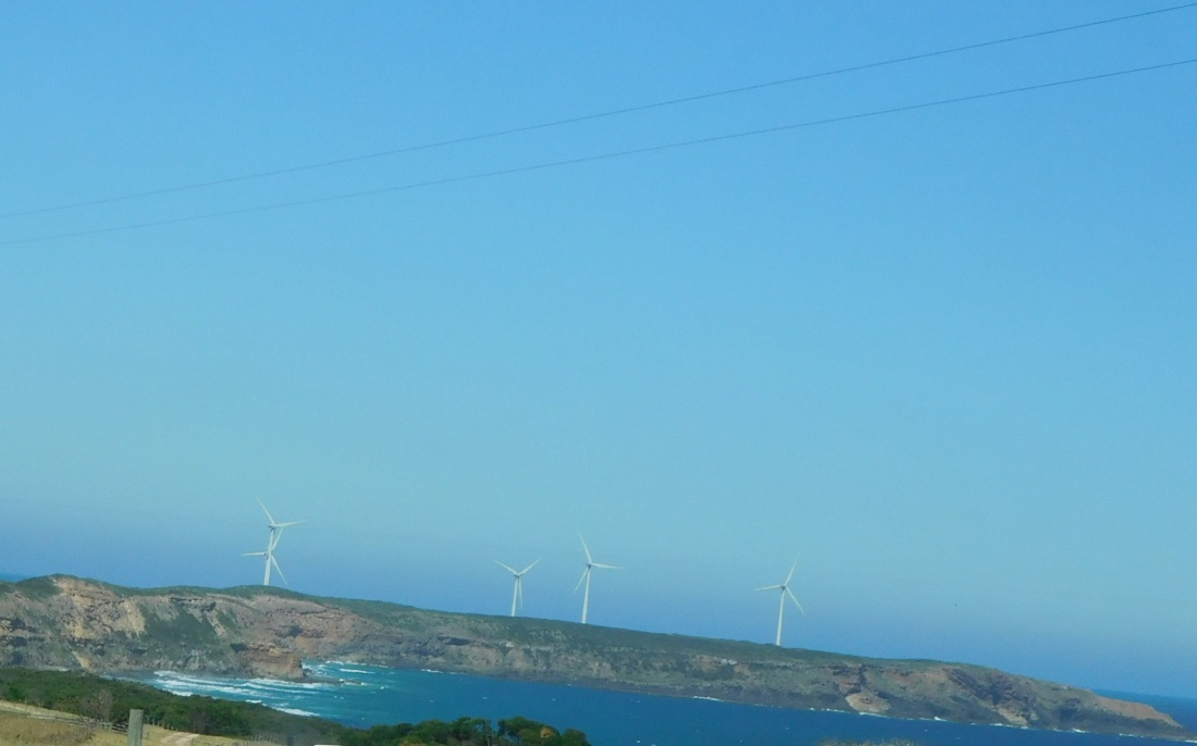 Wind turbines on the coast near Portland