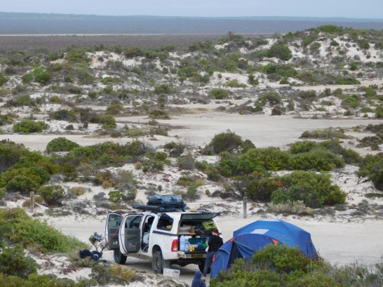 Scott Bay - camping behind the dunes - great spot