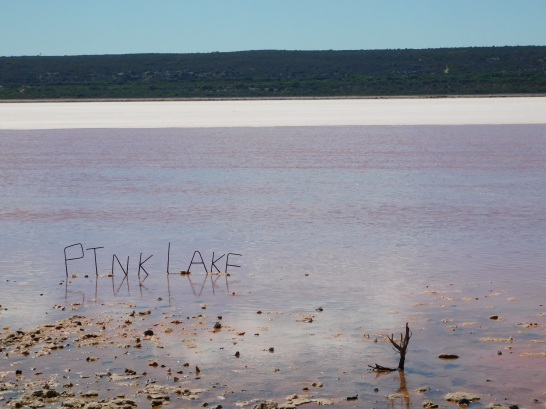 Pink Lake letters in the water