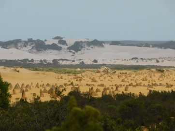 Pinnacles desert with white sand dunes in the distance