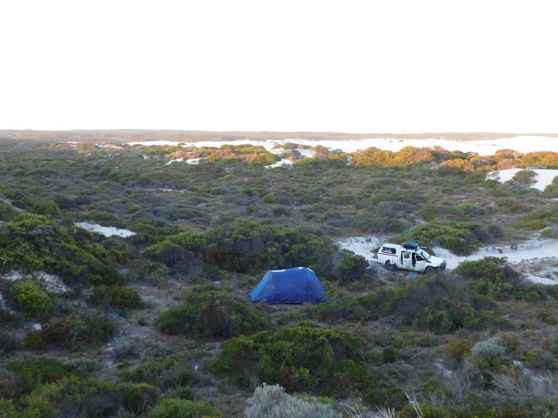 Wedge island camp near the dunes