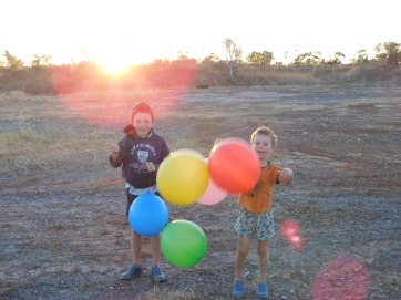 GRR birthday balloons at sunrise