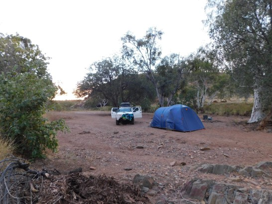 Caroline Springs Camp in dry creek bed