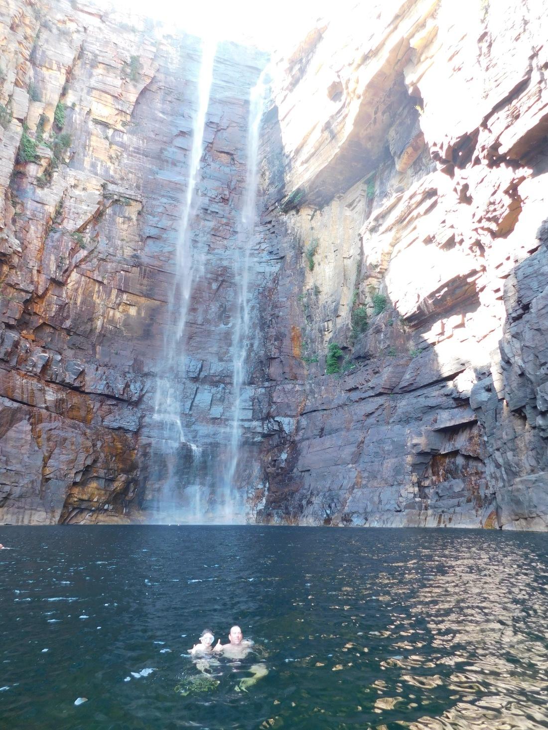 Kakadu Jim Jim Falls Lach and Josh swimming
